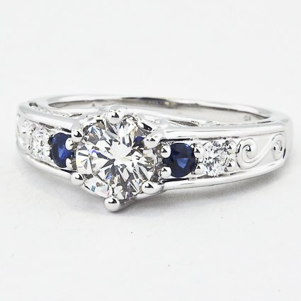 Modified Art Deco Filigree Diamond Ring with Sapphires