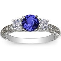 Sapphire Antique Scroll Three Stone Trellis Ring