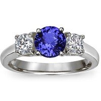 Sapphire Three Stone Diamond Trellis Ring