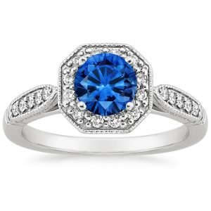 sapphire victorian halo ring