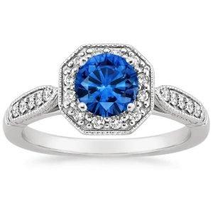 sapphire victorian halo ring