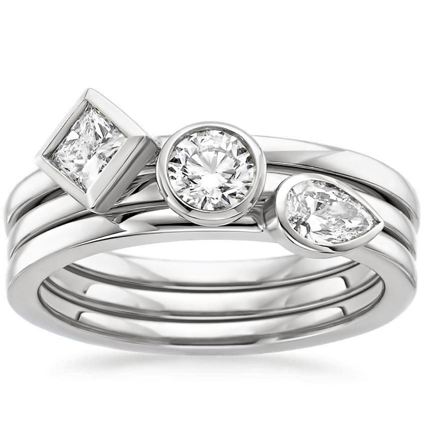 shop now bezel ring stack - Stacked Wedding Rings