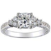 Cushion Adorned Trio Diamond Ring