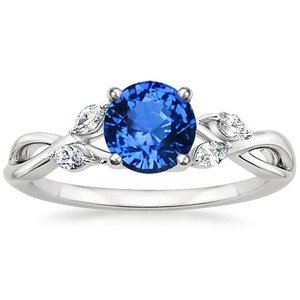 Sapphire and Diamond Willow Ring