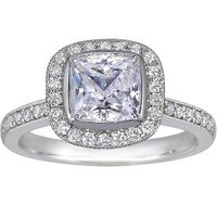 Cushion Fancy Bezel Halo Diamond Ring with Side Stones