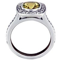 Fancy Bezel Halo Yellow Sapphire Ring