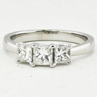 3 Stone Princess Diamond Trellis Ring