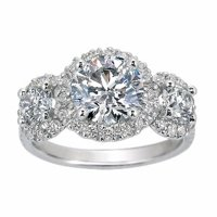 Three Stone Diamond Halo Ring