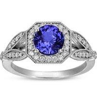 Sapphire Luxe Victorian Halo Split Shank Ring