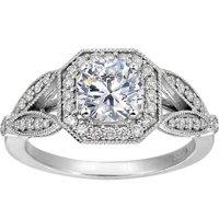 Luxe Victorian Halo Split Shank Ring