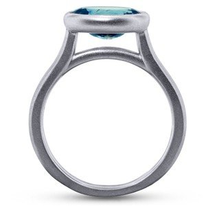 Brushed Horizontally Set Sapphire Ring Profile View