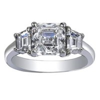 Custom Three Step-Cut Diamond Ring