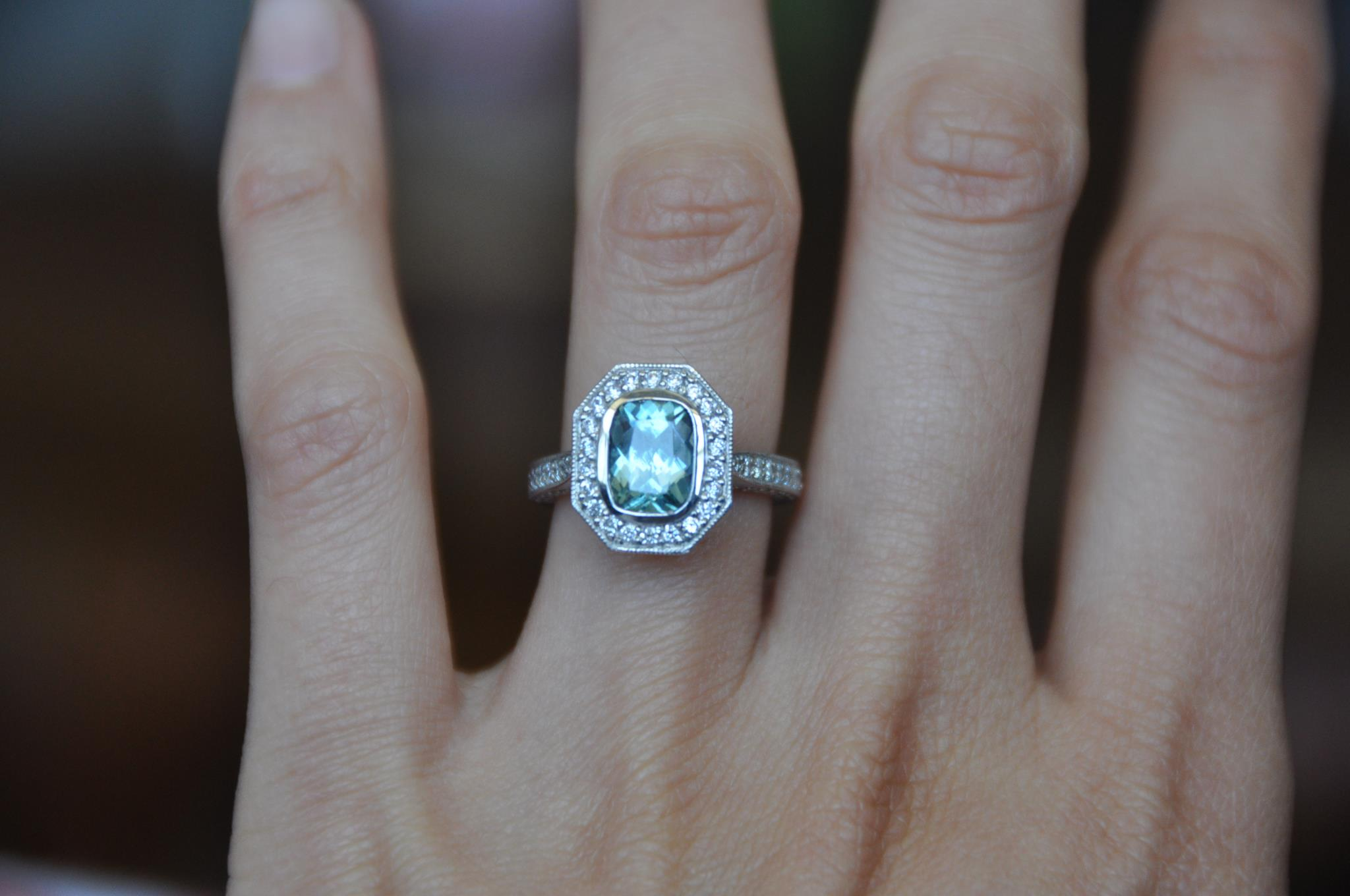 Custom Seafoam Cushion Sapphire Luxe Bezel Halo Ring