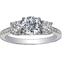 Three Stone Round Diamond Pavé Trellis Ring (over 1/2 ct.tw.)