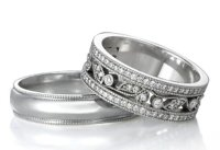 Milgrain Men's Ring and Diamond Floral Women's Ring