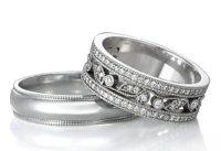 Milgrain Men's Ring and Diamond Floral Women's Ring