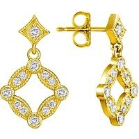 18K Yellow Gold Tiara Diamond Stud Earrings