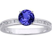 Sapphire Petite Channel Princess Diamond Ring