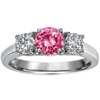 Pink Sapphire Three Stone Diamond Trellis Ring