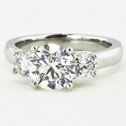 Platinum Three Stone Diamond Trellis Ring (Over 1/2 ct.tw.)