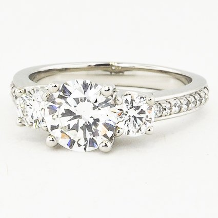 Platinum Three Stone Round Diamond Pavé Trellis Ring (Over 1/2 ct.tw.)