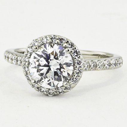 Platinum Halo Diamond Ring With Side Stones