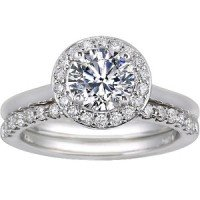 18K White Gold Halo Diamond Ring with Petite Shared Prong Diamond Ring