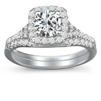 18K White Gold Harmony Diamond Ring Matched Set