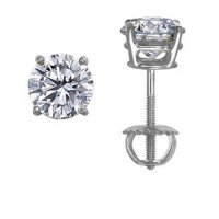 18K White Gold Round Diamond Stud Earrings