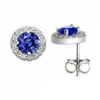 18K White Gold Sapphire Halo Diamond Earrings