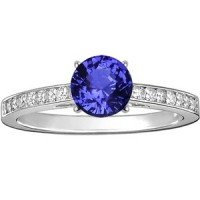 18K White Gold Sapphire Starlight Diamond Ring