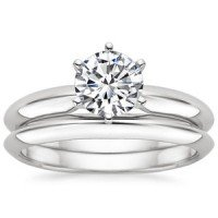 18K White Gold Six-Prong Classic Matched Set