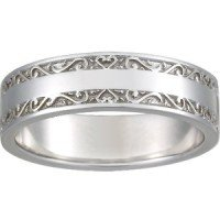 18K White Gold Wide Antique Scroll Ring