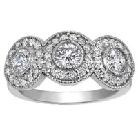 Three Stone Bezel Halo Ring