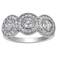 Three Stone Bezel Halo Ring