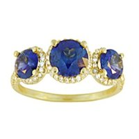 Luxe Three Stone Sapphire Halo Ring