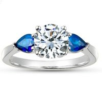 Three Stone Diamond and Sapphire Forget Me Not Ring