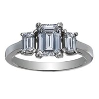 Three Stone Emerald Cut Ring