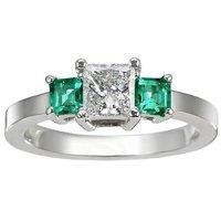 Diamond and Emerald Three Stone Ring