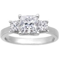 Three Stone Princess Cut Ring