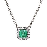 18K White Gold Emerald Halo Diamond Pendant