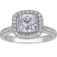 18K White Gold Fancy Bezel Halo Diamond Ring with Side Stones