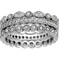 18K White Gold Luxe Antique Eternity Diamond Ring Stack