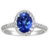 18K White Gold Sapphire Fancy Halo Diamond Ring