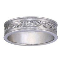 Leaf Pattern Wedding Band with 6 Flush Set Diamond Accents