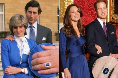 Princesses Diana and Kate with engagement ring