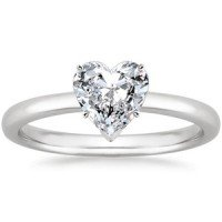 18K White Gold 2mm Comfort Fit Ring Heart