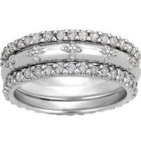 18K White Gold Diamond Petals Ring Stack