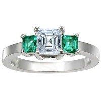 18K White Gold Three Stone Diamond and Emerald Ring