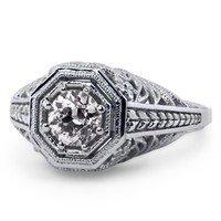 Custom Vintage Style Diamond Engagement Ring